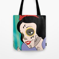 snow white Tote Bags featuring Snow White  by mark ashkenazi