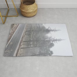 """""""Wander"""". Into the foggy woods Rug"""
