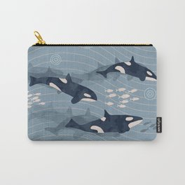 Orca in Motion / blue-gray ocean pattern Carry-All Pouch