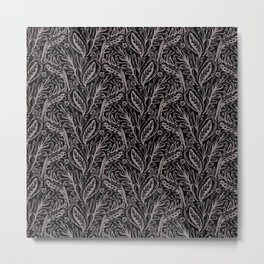 Modern Floral Leaf Nature Pattern, Monochrome Tonal Grey on Black with Linear detail Metal Print