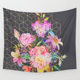 Modern watercolor floral and gold geometric cubes Wall Tapestry