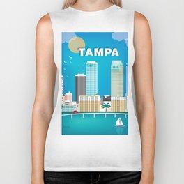 Tampa, Florida - Skyline Illustration by Loose Petals Biker Tank