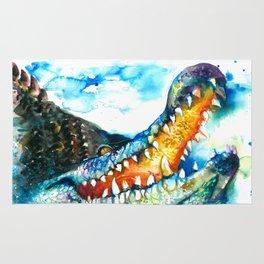 Crocodile Watercolor Painting Rug
