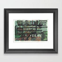 The Bookshelf in Green Framed Art Print