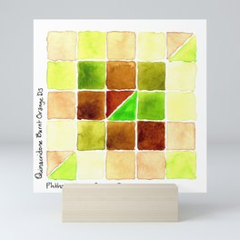 Color Chart - Quinacridone Burnt Orange DS and Phthalo Yellow Green DS Mini Art Print