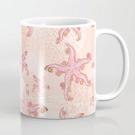 Starfish and Coral Pink Pastel Pattern Coffee Mug