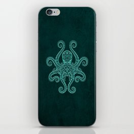 Intricate Teal Blue Octopus iPhone Skin