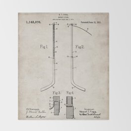 Ice Hockey Stick Patent - Ice Hockey Art - Antique Throw Blanket