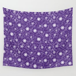 Purple and white floral pattern clemson football college university alumni varsity team fan Wall Tapestry
