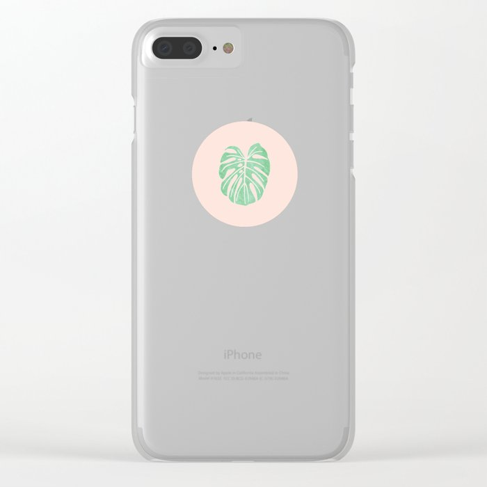 Monstera Pattern Clear iPhone Case