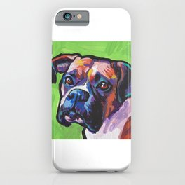 Fun BOXER Dog bright colorful Pop Art Painting by Lea iPhone Case