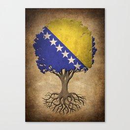 Vintage Tree of Life with Flag of Bosnia - Herzegovina Canvas Print