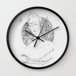bramble branch portrait Wall Clock