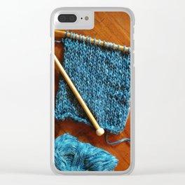 knitting photo, denim, denim photo, blue, wood, knitting, knit, brown, Clear iPhone Case