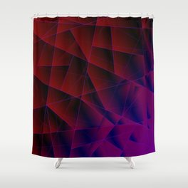 Abstract strict pattern of burgundy and overlapping purple triangles and irregularly shaped lines. Shower Curtain