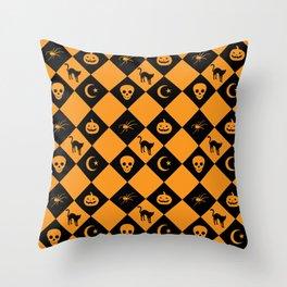 Halloween Black Orange Diamond Pattern Throw Pillow