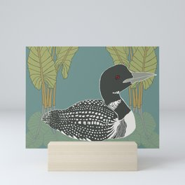 Loon & Botanical Bird Series Illustration Mini Art Print