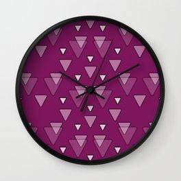 Geometric Triangles in Fuchsia Pink Wall Clock