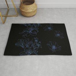 Blue Line Art Flowers on Black Rug