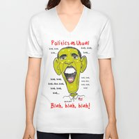 politics V-neck T-shirts featuring Politics as Usual... by Ron (Rockett) Trickett