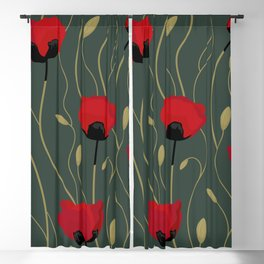 Red poppies blooming on a dark-grey sage ound Blackout Curtain