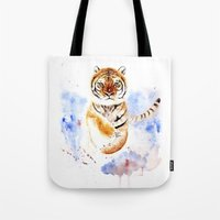 tiger Tote Bags featuring Tiger by Anna Shell