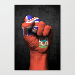 Bermuda Flag on a Raised Clenched Fist Canvas Print