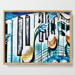 Deep Ellum Music Note Mural - Surreal Serving Tray