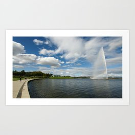 The Captain James Cook Memorial Fountain, Lake Burley Griffin, Canberra Art Print