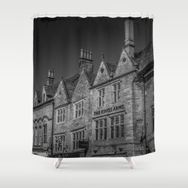 Stow-on-the-Wold Market Square Black and White Dynamic Historic Cotswolds Shower Curtain