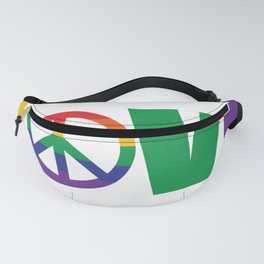 Pride Love is Love Rainbow Peace Sign LGBT Fanny Pack
