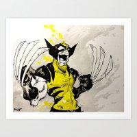 berserk Art Prints featuring Wolverine - Berserker by RISE Arts