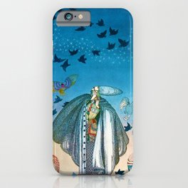 'Flock of Birds and Wild Flowers' magical realism portrait painting by Kay Nielsen iPhone Case
