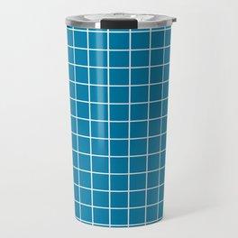 Celadon blue - blue color -  White Lines Grid Pattern Travel Mug