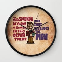 ron swanson Wall Clocks featuring Ron Swanson by maykel nunes