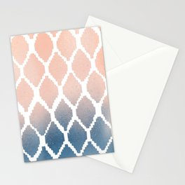Navy and Peach Ikat Stationery Cards