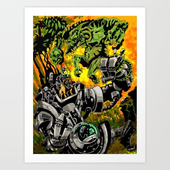 Doktor Steampug Versus Gorillizard! Art Print