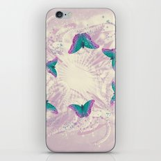 Abstract beautiful retro butterflies swarm over faded wattle iPhone Skin