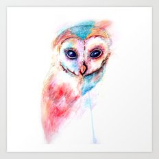 Watercolour Barn Owl Art Print