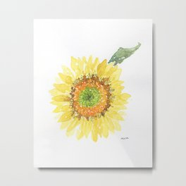 Sunflower With Green Center Metal Print