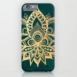 Gold Lotus on Emerald Green iPhone Case