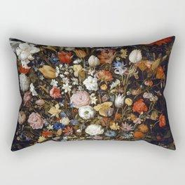 Flowers in a Wooden Vessel by Jan Brueghel the Elder (1607) Rectangular Pillow