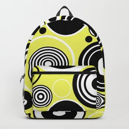 Geometric Rings On Pastel Yellow - Black and white abstract Backpack