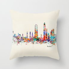 Barcelona watercolor skyline Throw Pillow