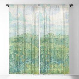 Green Wheat Fields, Auvers, 1890, Vincent van Gogh Sheer Curtain