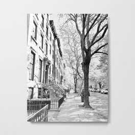 Cobble Hill Brooklyn Winter Black and White Brownstone Metal Print