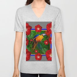 GREY RED HIBISCUS GOLD MACAW JUNGLE ART Unisex V-Neck