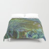 monet Duvet Covers featuring Irises by Claude Monet by Palazzo Art Gallery