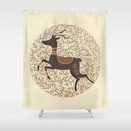 Scandinavian Folk Art Stag Shower Curtain