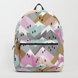 Alpine mountains winter climbing peaks snow pink Backpack